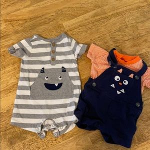Carter's Overalls w/ shirt and grey onsie 3 months